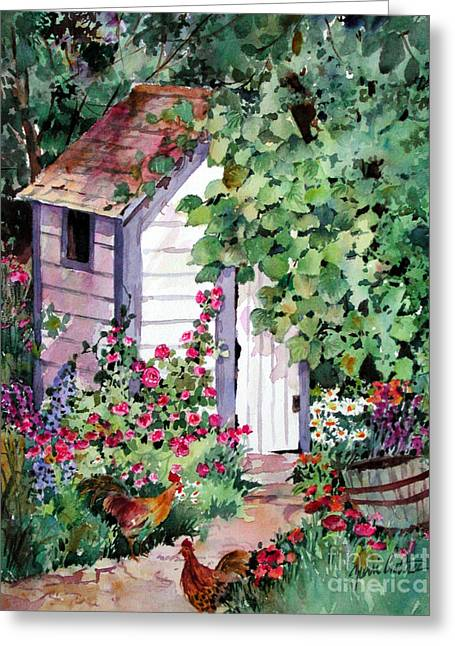Outhouse With Hollyhocks Greeting Card