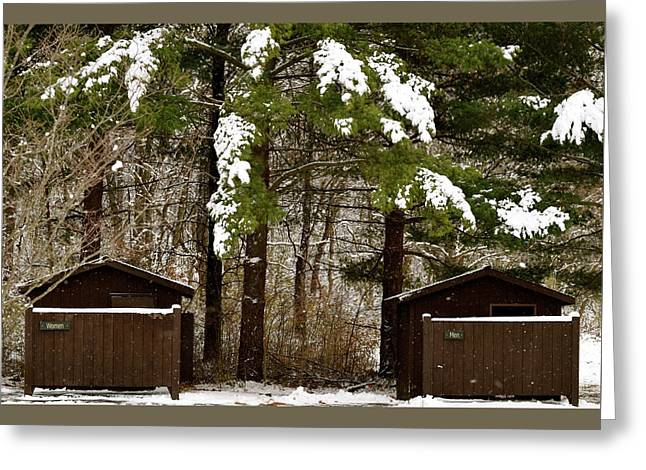 Outhouses In The Cold Greeting Card
