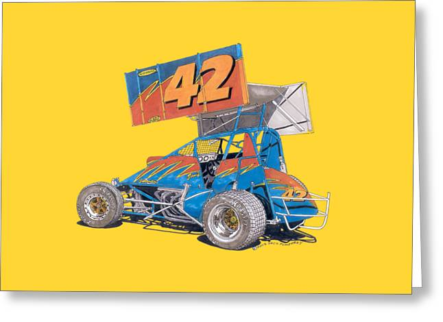 Outlaw Dirt Track Racer Greeting Card