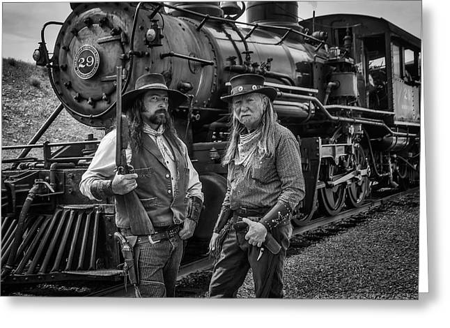 Outlaws With Old Steam Train Greeting Card