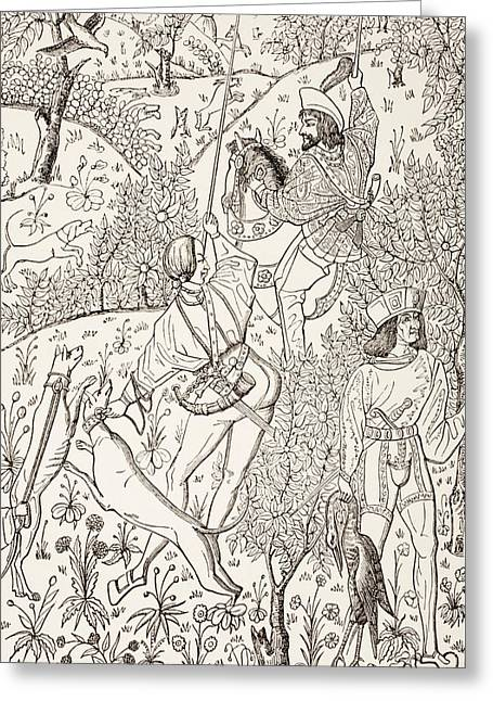 Outline Of A 15th Century Hunting Greeting Card