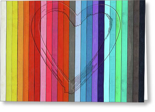 Outline Of A Heart Shape On Color Pastels Greeting Card by Michal Boubin