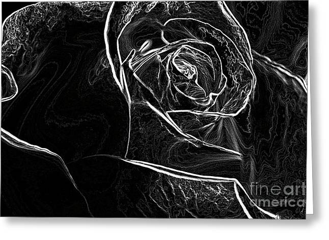 Greeting Card featuring the photograph Outline Of A Rose by Micah May