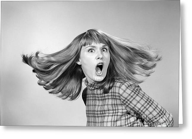 Outraged Woman With Hair Flying, C.1960s Greeting Card