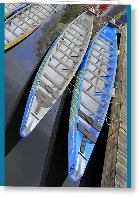 Outrigger Canoe Boats Greeting Card by Ben and Raisa Gertsberg