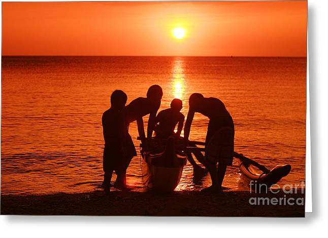 Outrigger Sunset Silhouet Greeting Card by Vince Cavataio - Printscapes