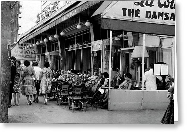 Outside Restaurant La Coupole In Montparnasse, Paris, 1959  Greeting Card