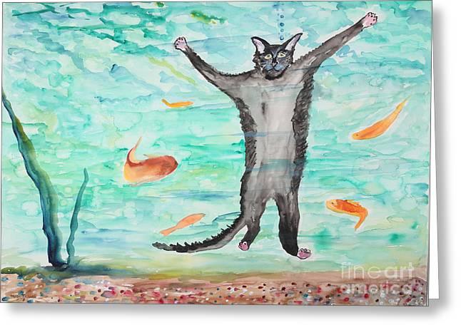 Outside The Fish Tank Greeting Card by Stella Sherman