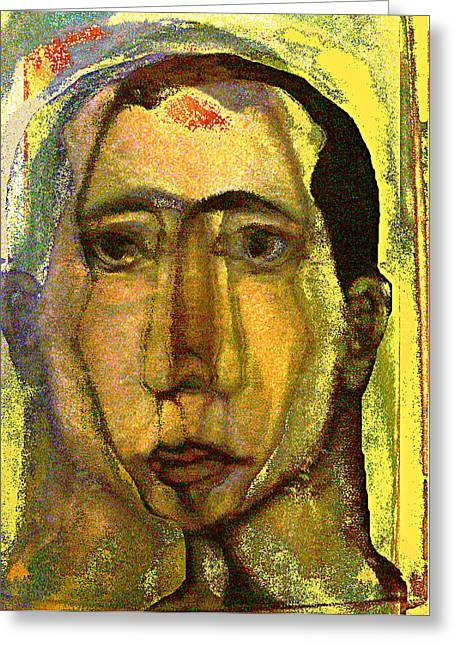 Self-portrait Mixed Media Greeting Cards - Outside the line Greeting Card by Noredin Morgan