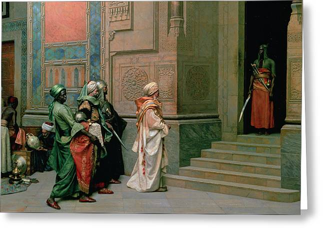 Outside The Palace Greeting Card by Ludwig Deutsch