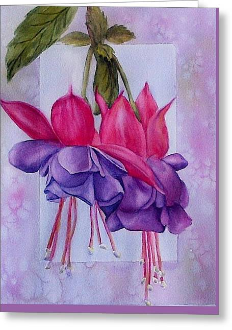 Outstanding Fuschias Greeting Card by Sue Chorney