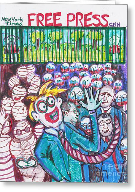 Oval Office-free Press For Russians But What About Americans? Greeting Card by Susan Brown    Slizys art signature name