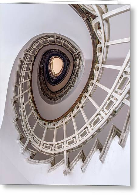 Oval Staircase In Light Tones Greeting Card