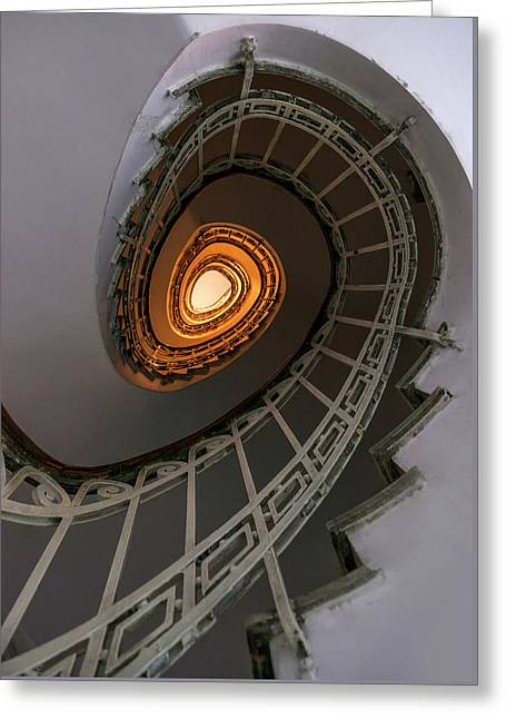 Oval Staircase With Golden Lights Greeting Card