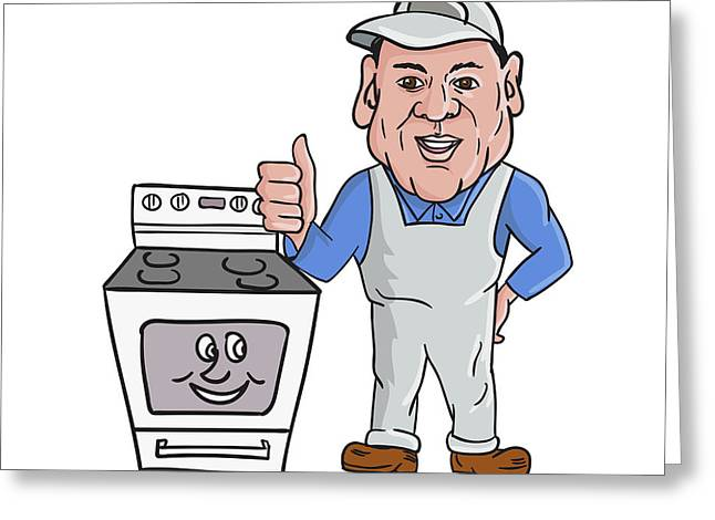 Oven Cleaner With Oven Thumbs Up Cartoon  Greeting Card