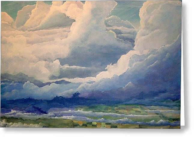 Over Farm Land Greeting Card by John Wise