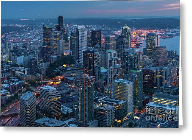 Over Seattle A Beautiful Downtown Greeting Card