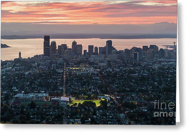 Over Seattle And Capitol Hill At Sunset Greeting Card