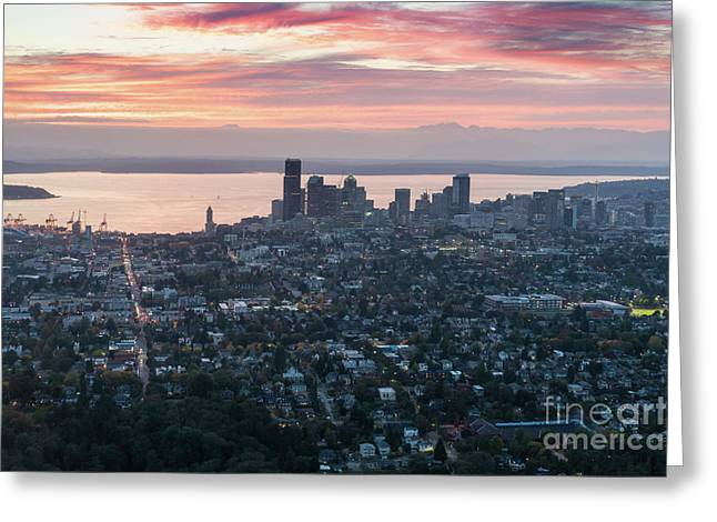 Over Seattle At Dusk Greeting Card