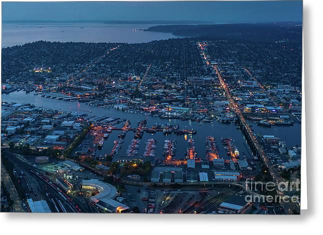 Over Seattle Ballard And Interbay Dusk Greeting Card
