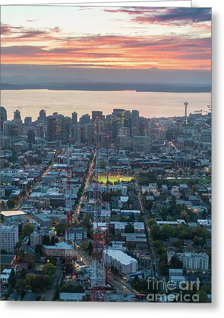 Over Seattle  Capitol Hills Towers Greeting Card