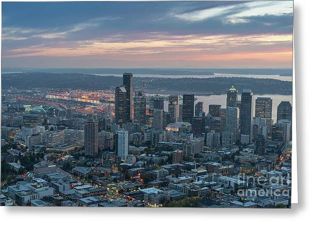 Over Seattle Downtown And The Stadiums Greeting Card
