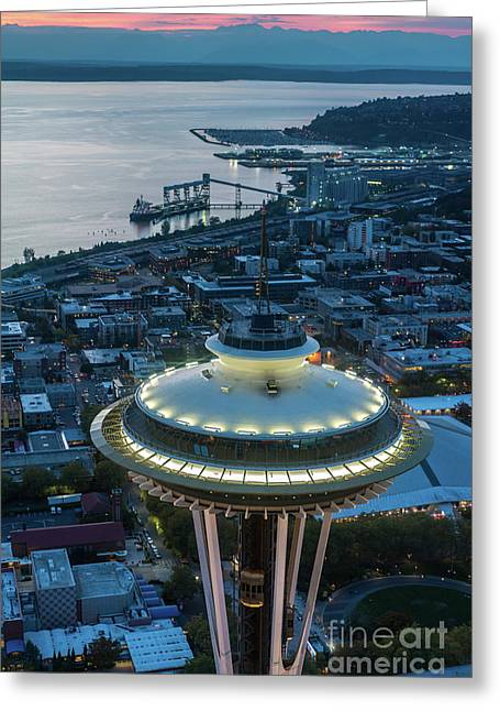 Over Seattle Space Needle Dusk Closeup Greeting Card