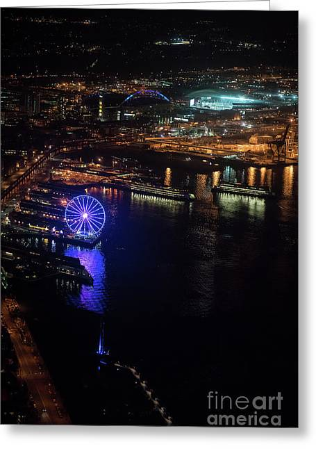 Over Seattle The Great Wheel At Night Greeting Card