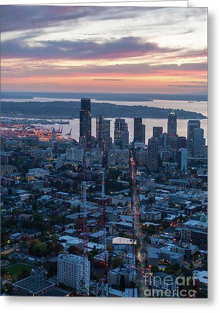Over Seattle  The View Up Madison Street At Sunset Greeting Card