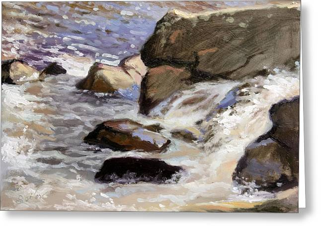 Over The Edge- Strong Falls Greeting Card by Larry Seiler