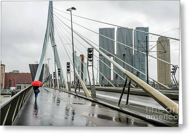 Greeting Card featuring the photograph Over The Erasmus Bridge In Rotterdam With Red Umbrella by RicardMN Photography
