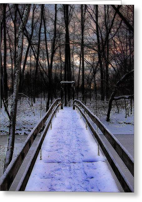 Over The Frozen River Greeting Card by Scott Hovind