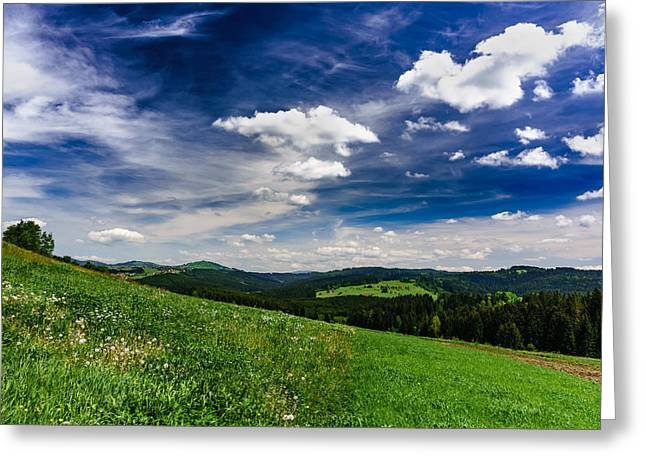 Greeting Card featuring the photograph Over The Green Hills by Dmytro Korol