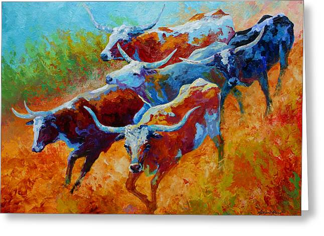Over The Ridge - Longhorns Greeting Card by Marion Rose