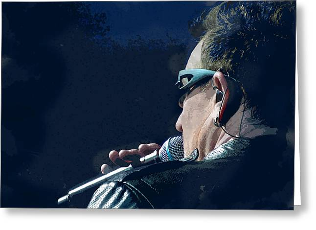 Over The Shoulder Of Bono Greeting Card
