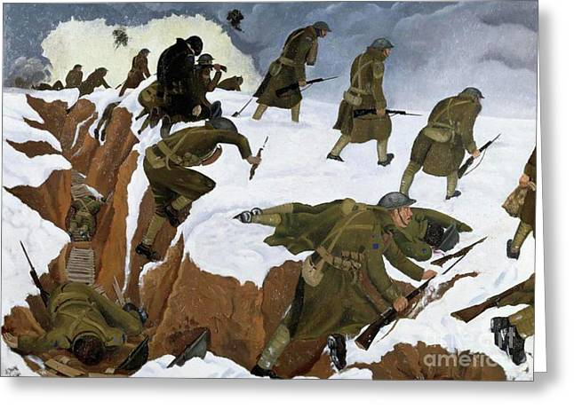 Over The Top. 1st Artists' Rifles At Marcoing, 30th December 1917 Greeting Card