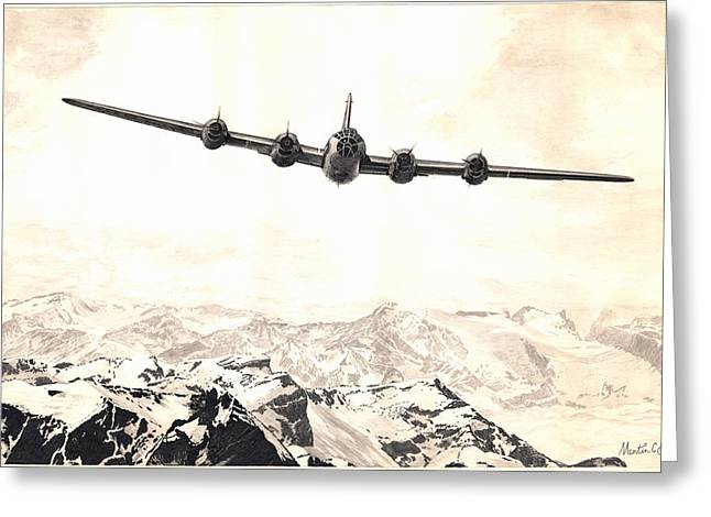 Over The Top - Boeing B-29 Superfortress - Hq Greeting Card by Martin Hall