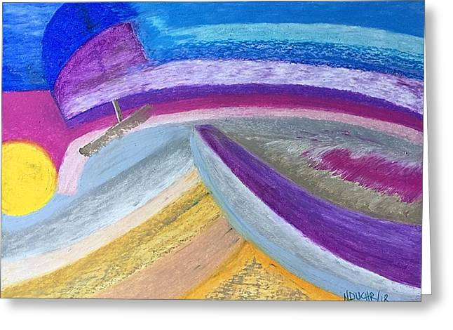 Greeting Card featuring the painting Over The Waves by Norma Duch