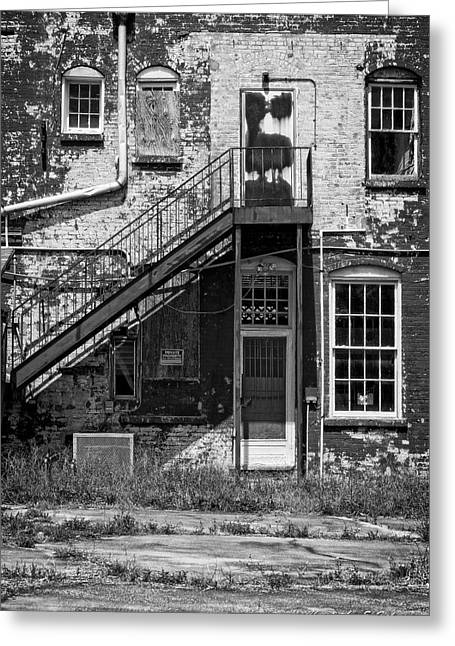 Greeting Card featuring the photograph Over Under The Stairs - Bw by Christopher Holmes