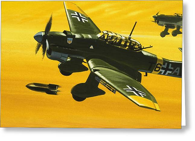 Overboard Junkers Ju87 Stuka Dive Bomber Greeting Card by Wilf Hardy