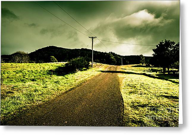 Overcast Storm Road Greeting Card