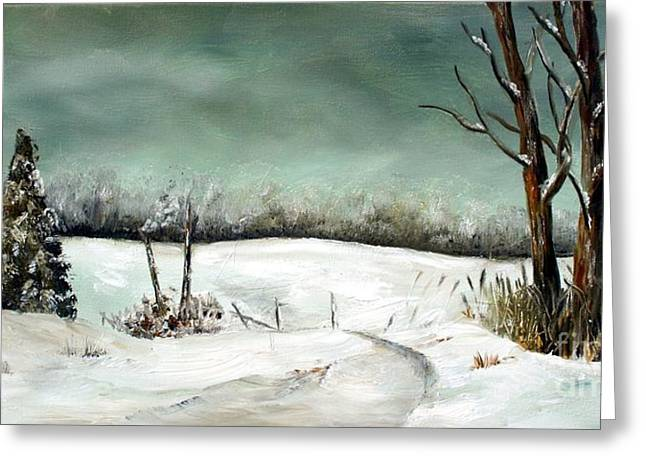 Overcast Winter Day Greeting Card by Anna-Maria Dickinson