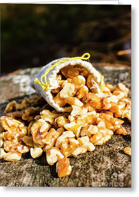 Overflowing Sack Of Fresh Walnuts Greeting Card by Jorgo Photography - Wall Art Gallery