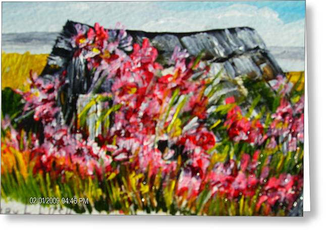 Overgrown Rosebushes Greeting Card by Terry Lash