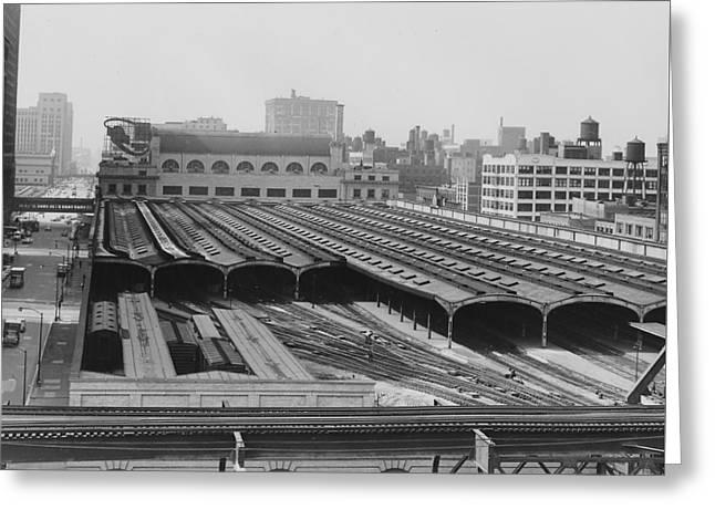 Train Sheds At Chicago Passenger Terminal - 1961 Greeting Card