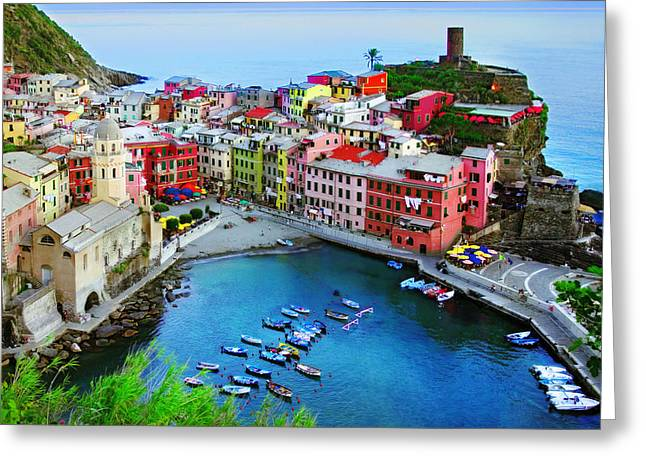 Italian Landscapes Digital Greeting Cards - Overlook Vernazza Greeting Card by John Galbo