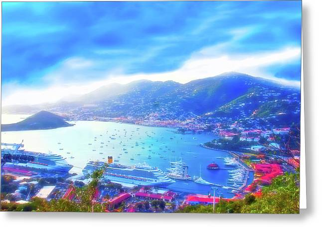 Overlooking The Bay Celestial Skies Greeting Card