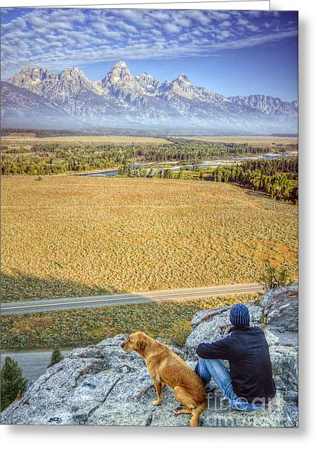 Best Friend Photographs Greeting Cards - Overlooking the Grand Tetons Jackson Hole Greeting Card by Dustin K Ryan