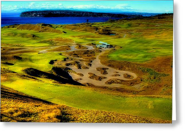 Overlooking The Scenic Chambers Bay Golf Course Greeting Card