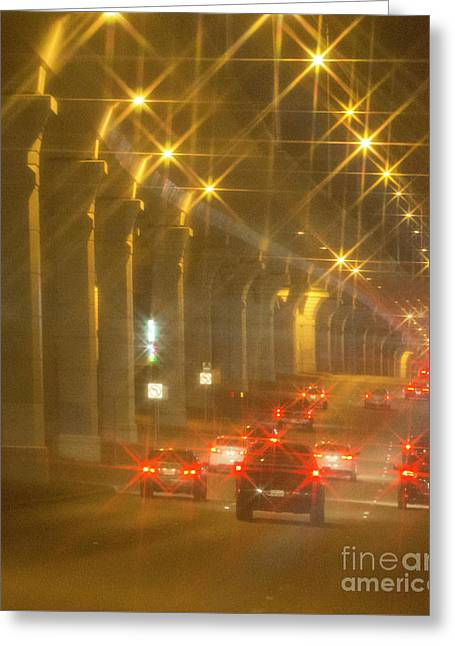 Greeting Card featuring the photograph Overpass Traffic by Linda Phelps